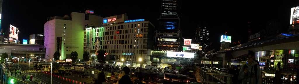 渋谷駅周辺のパノラマ写真歩道橋から